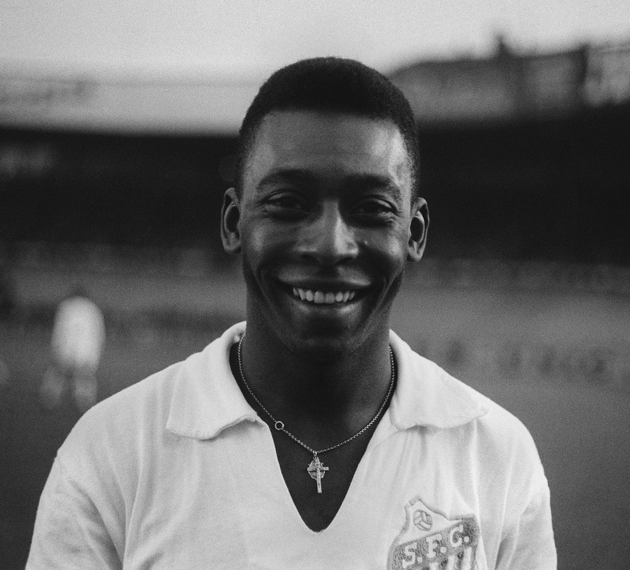 Brazilian striker Pele, wearing his Santos jersey,