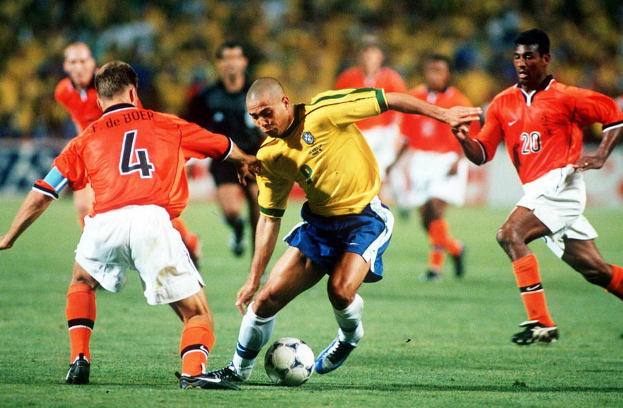 1998 World Cup Finals, Marseille, France, Semi-Final, 7th July, 1998, Brazil 1 v Holland 1, (Brazil won 4-2 on penalties), Brazil's Ronaldo takes on Holland's Frank De Boer and Aron Winter (20)