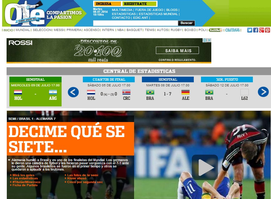 Home-page do Olé (Argentina).